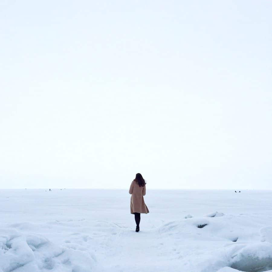nature, ocean, snow, water, winter, woman