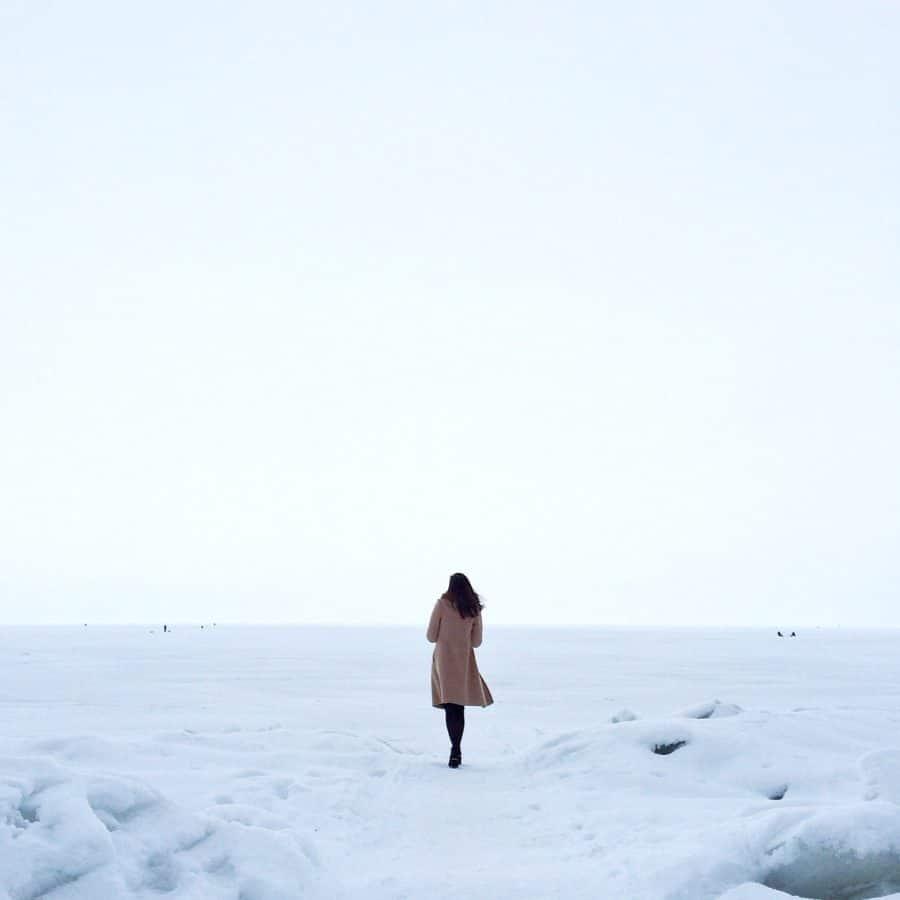 naturaleza, mar, nieve, agua, invierno, mujer