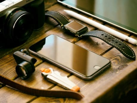 cellphone, wristwatch, equipment, object, wood, photo camera, photo studio