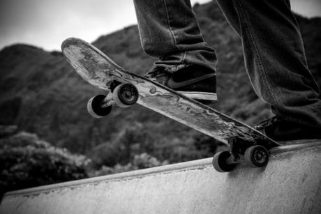 skateboard, street, skate, monochrome, propeller, mechanism