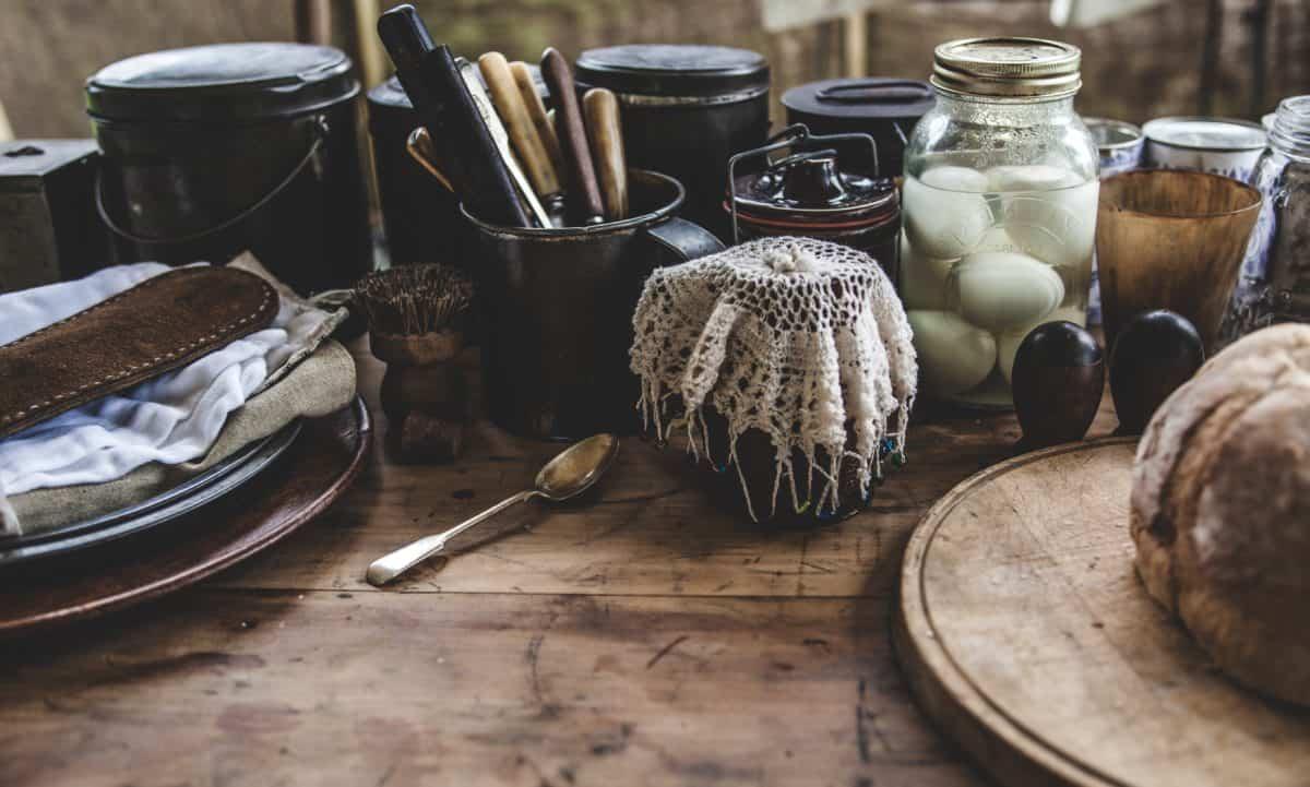 Stilleven, pot, glas, voedsel, hout, object, keuken, tool, brood, voedsel, keukengerei, Bureau