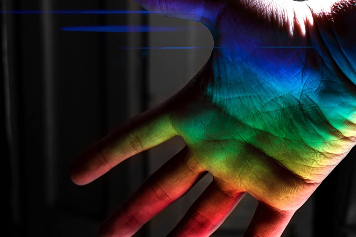 hand, colorful, light, skin, body, laser, darkness, shadow