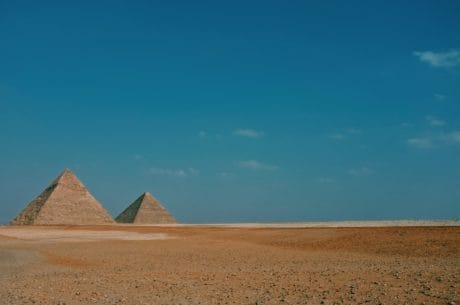 Piramida, Afrika, Mesir, pasir, pasir, gundukan, tanah, lansekap, langit, Kolam