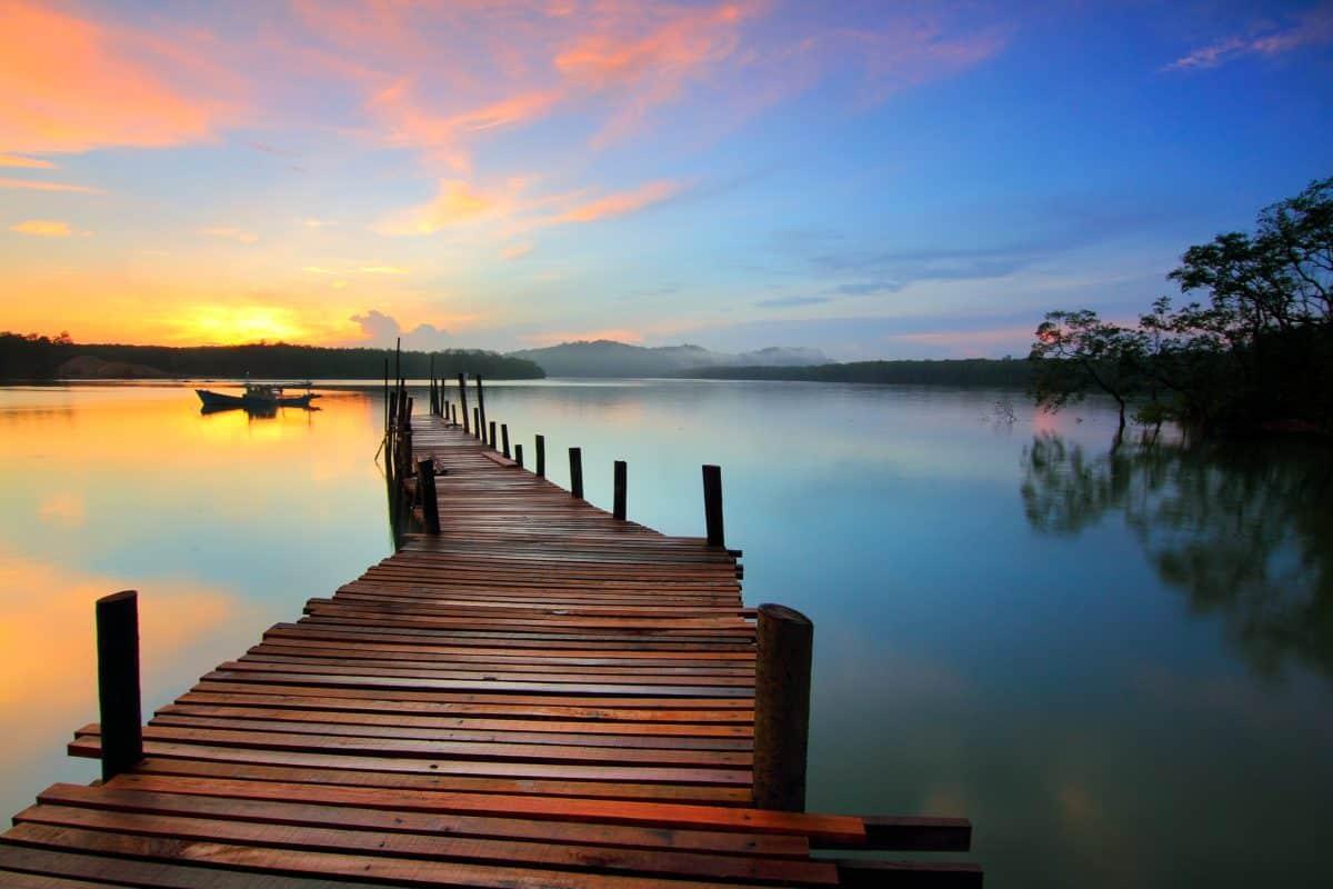 amanecer, muelle, agua, amanecer, anochecer, reflexión, lago, puesta de sol, sol, cielo