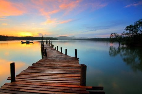 sunrise, pier, water, dawn, dusk, reflection, lake, sunset, sun, sky