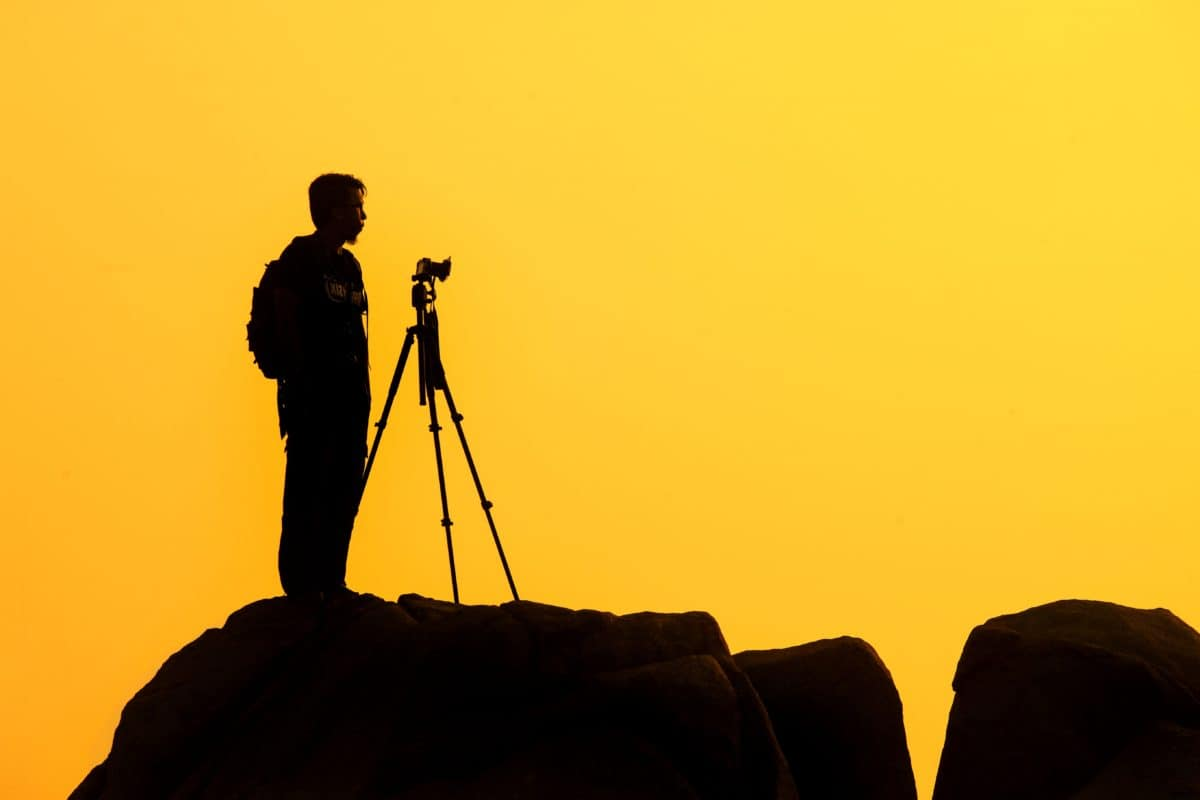 photography, landscape, dawn, sunset, backlit, silhouette, photographer, dusk