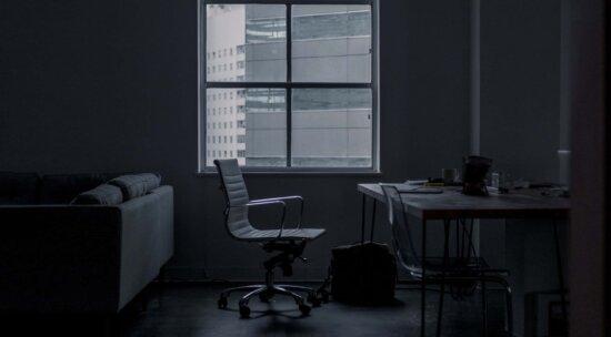 fenêtre, chambre, monochrome, fauteuil, contemporain, table, meubles, Bureau