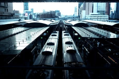 train, urban, architecture, railway station, city, downtown