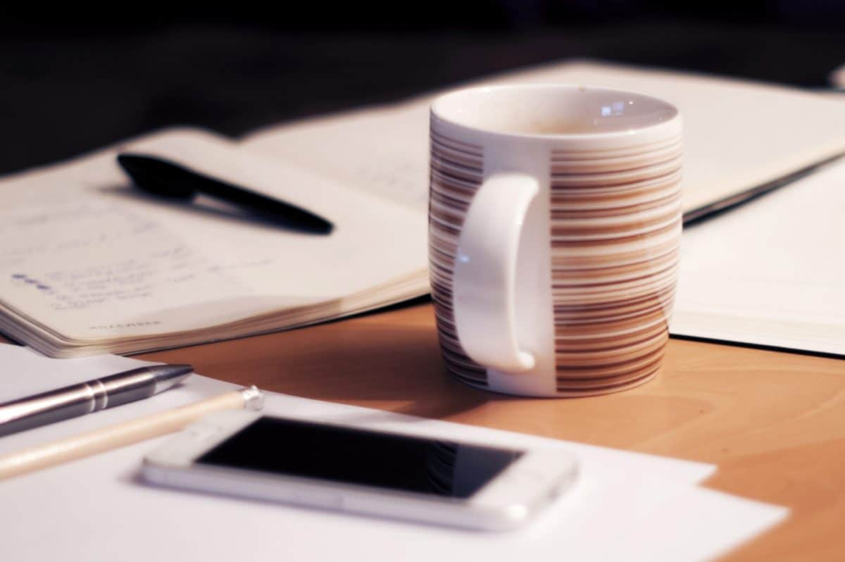 office, mobile phone, paper, document, desk, indoor, coffee mug