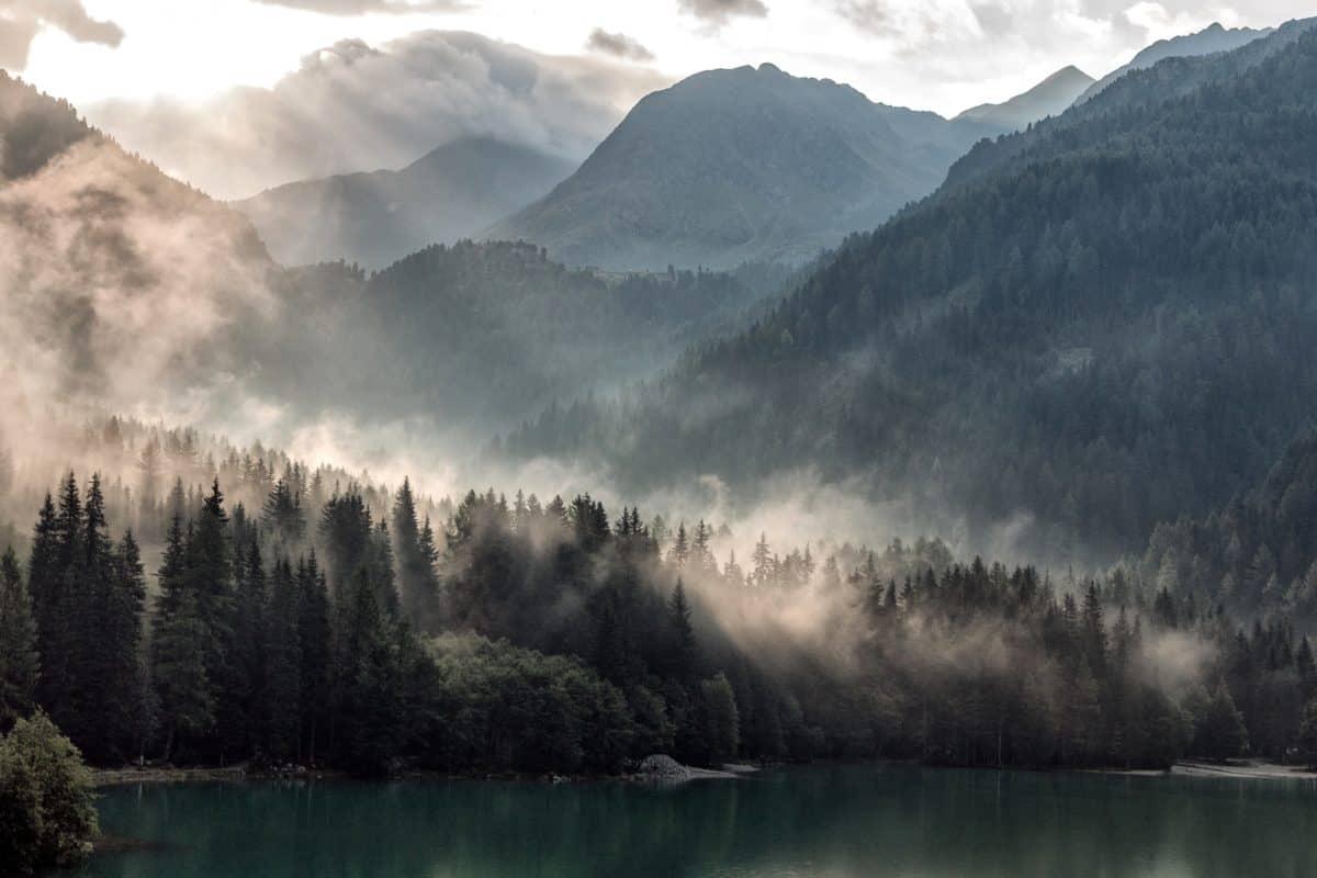 езеро, пейзаж, планина, вода, ледник, сняг, мъгла, Открит