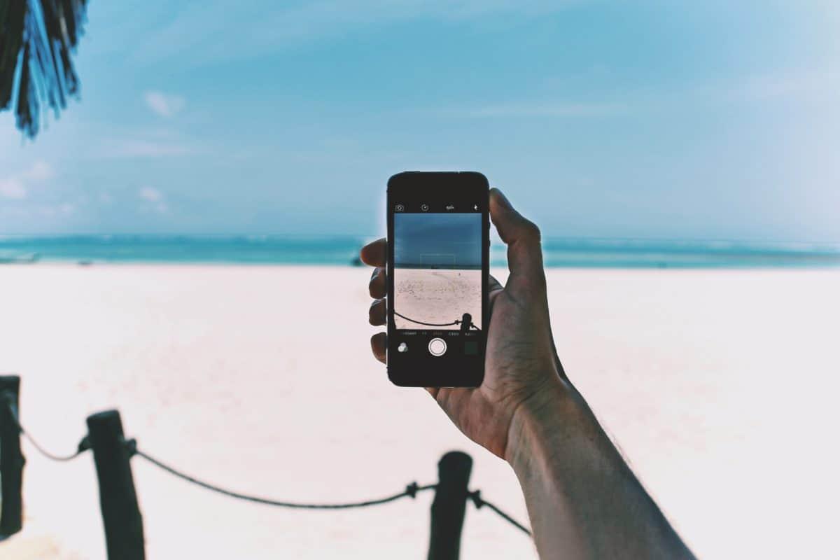 mobilni telefon, fotografija, pijesak, more, fotograf, plaža, more, plavo nebo