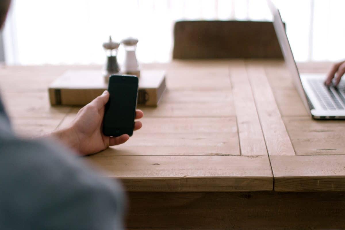 Handy, Möbel, Schreibtisch, Holz, Zimmer, Hand, indoor, Büro