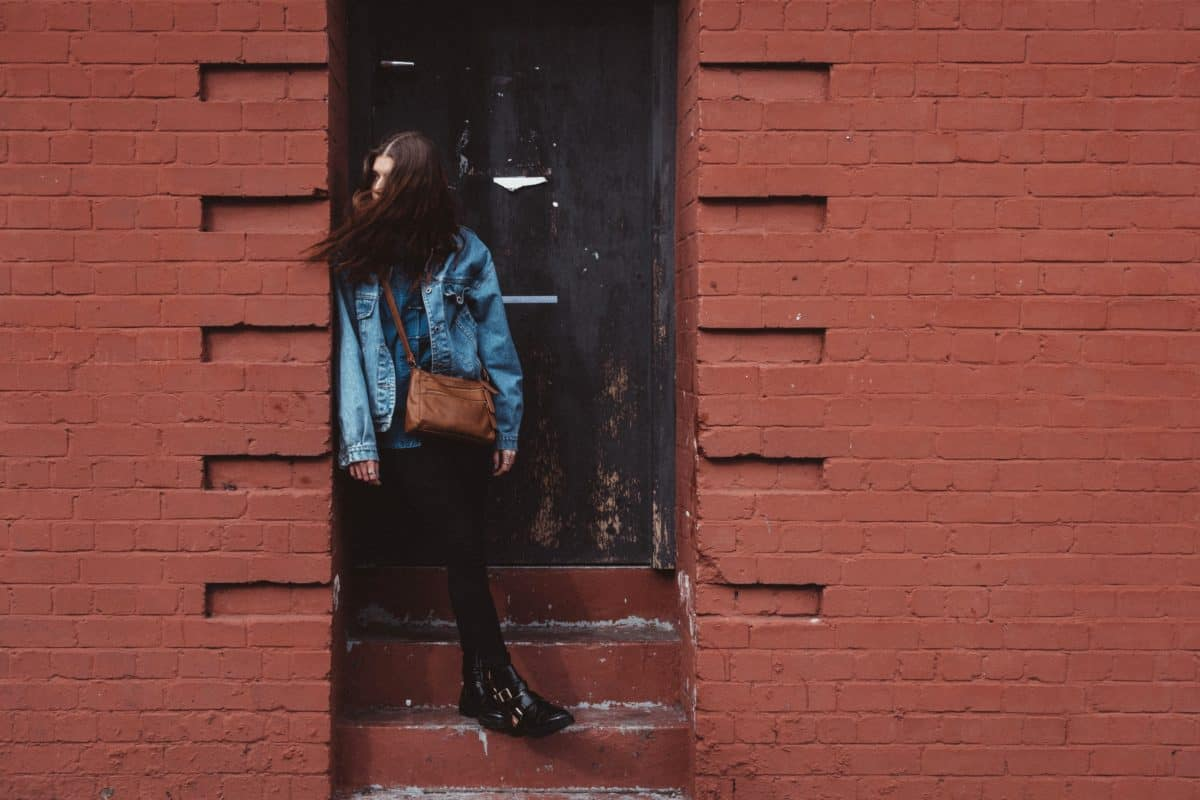 urbain, rue, brique mur, vieux, porte, architecture