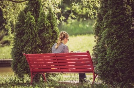 pretty girl, grass, summer, wood, blonde hair, garden, nature, tree, bench, furniture