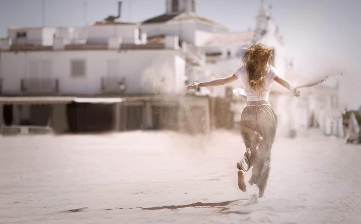 момиче, жена, хора, пясък, вятърът, структура