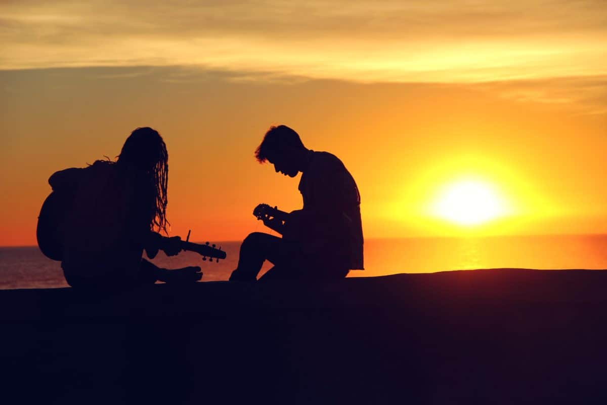 sunset, dawn, dusk, sun, people, silhouette, backlit, sky
