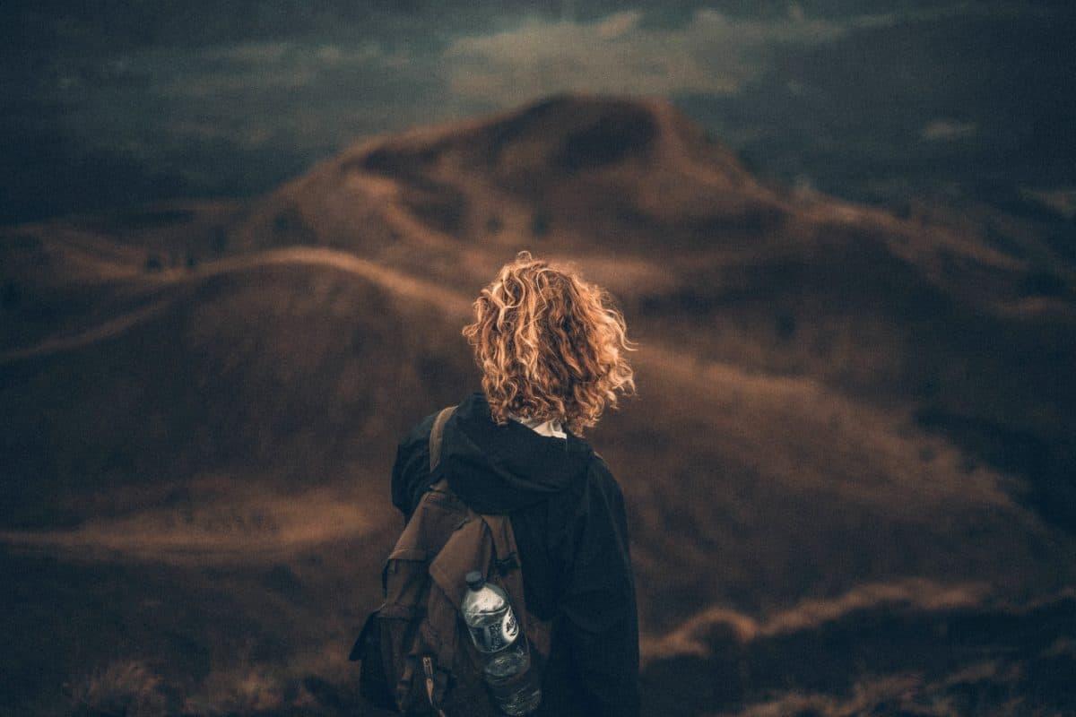 escursione, cielo, donna, sport, tramonto, Climber della montagna, paesaggio, montagna, persona