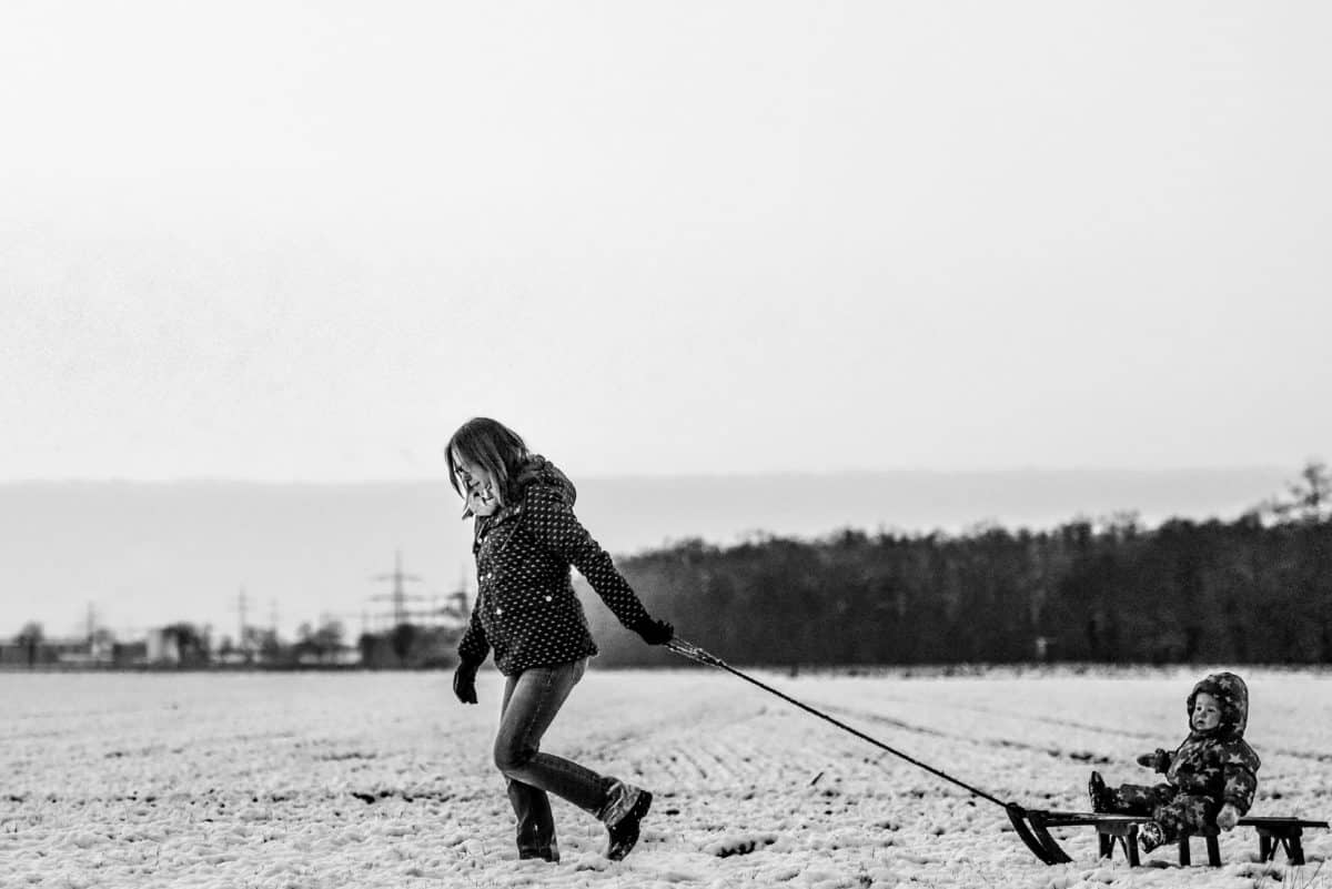 хора, дете, жена, монохромен, сняг, спорт, на открито, небе