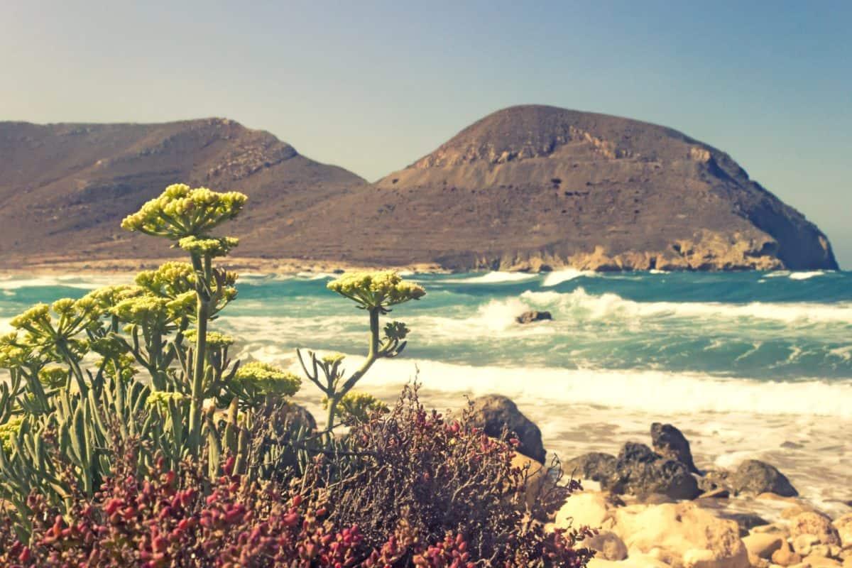 пейзаж, небе, планина, плаж, море, океан, бряг, вода