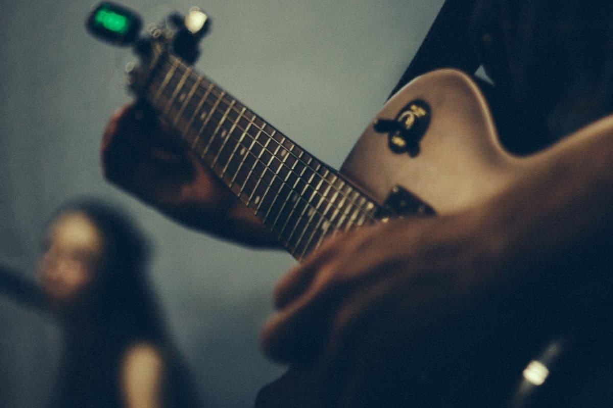 instrumen, kinerja, gitar, musik, musisi, orang, konser