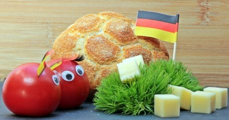 breakfast, tomato, bread, cheese, flag, decoration, food