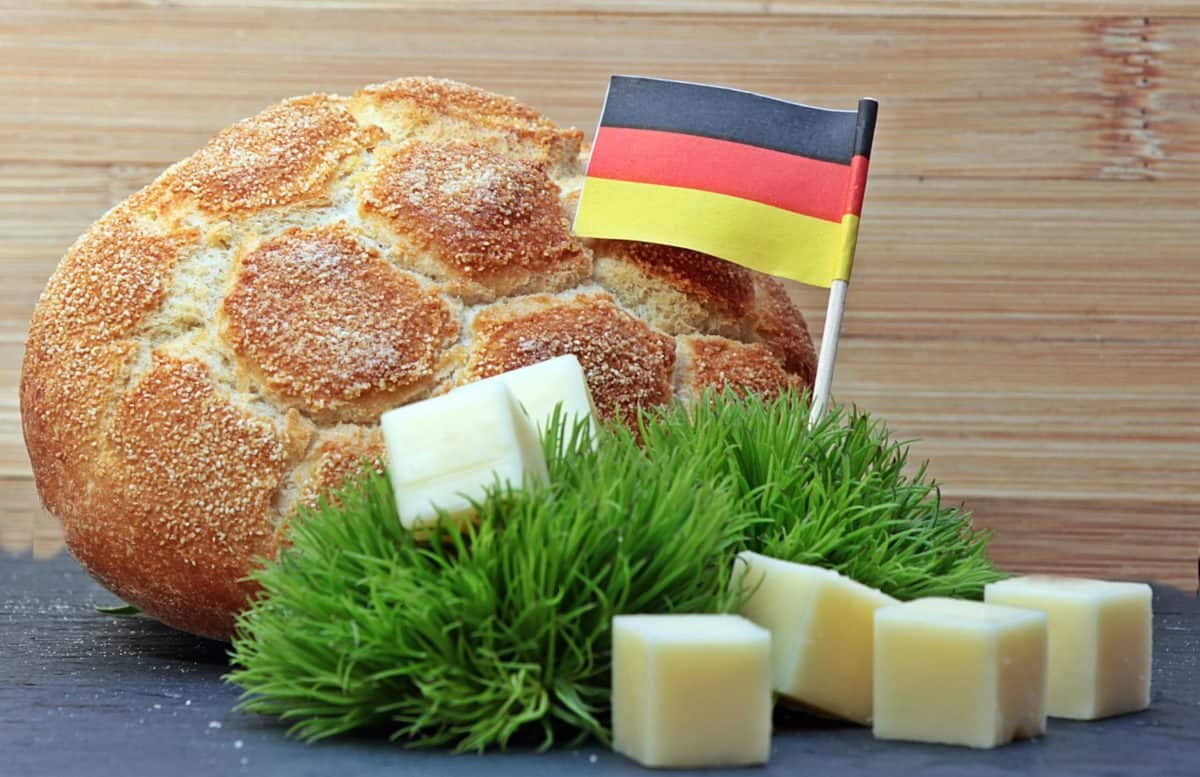 Desayuno, pan, queso, bandera, decoración, alimentos