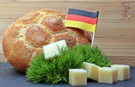 breakfast, bread, cheese, flag, decoration, food