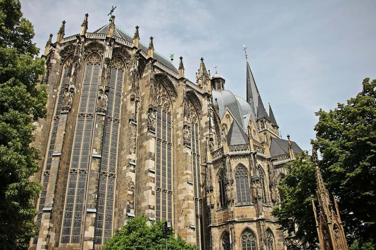 religion, cathédrale, ville, ancien, architecture, arbre