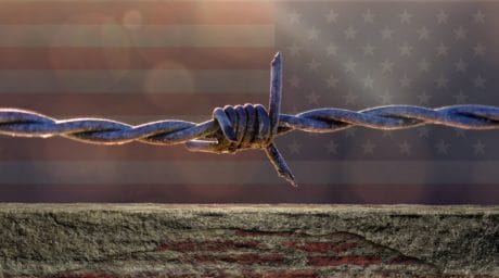 barbed wire, flag, america, metal, steel, fence, security