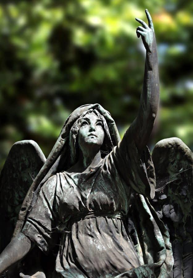 bronse, statue, hvit angel, kvinne, kunst, skulptur, tre, utendørs