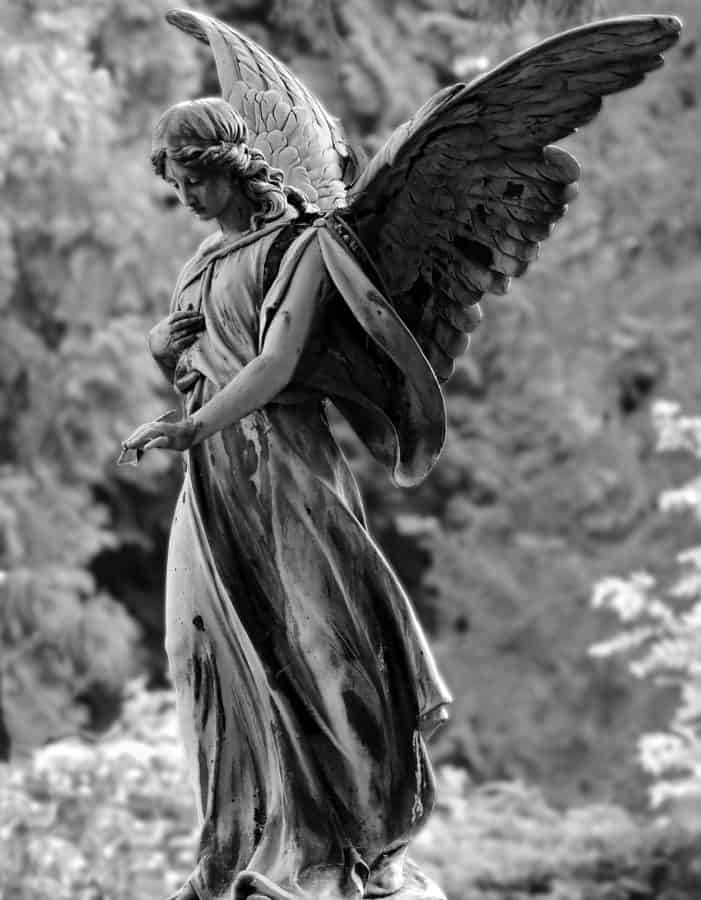 statue, white angel, bronze, wing, art, woman, religion, monochrome, outdoor