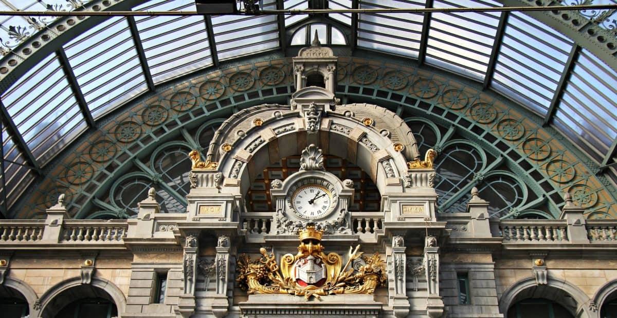 Arabesque, arquitectura, reloj, estación, cúpula, edificio, arte