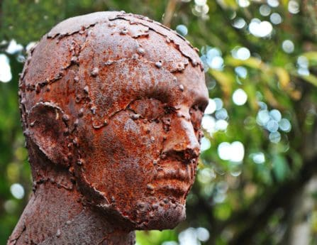 bronze, statue, head, man, tree, people, outdoor, art, sculpture