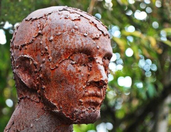 bronze, statue, head, man, tree, people, outdoor, art, sculpture