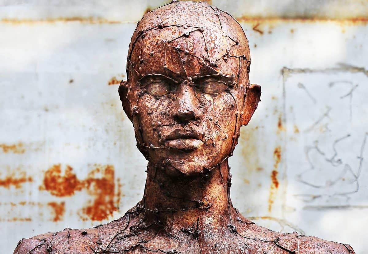 bronse, metall, hodet, mann, mennesker, utendørs, kunst, skulptur