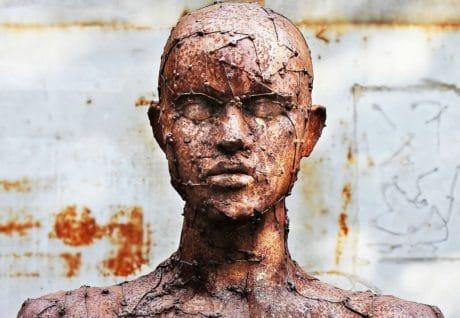 bronz-, fém-, fej-, ember, ember, kültéri, művészet, szobrászat