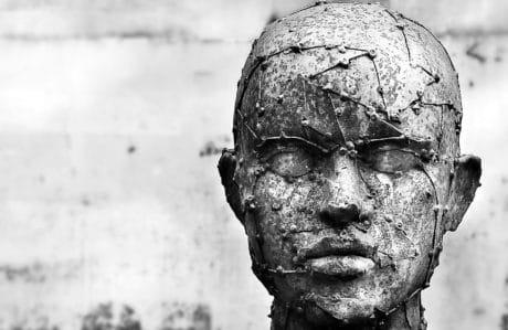 bronz, emberek, fekete-fehér, kültéri, művészet, szobor, fej, az ember