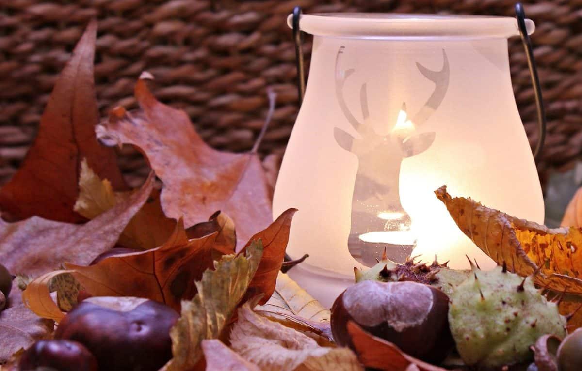 aux chandelles, nature morte, lampe, châtaigne, automne, légère