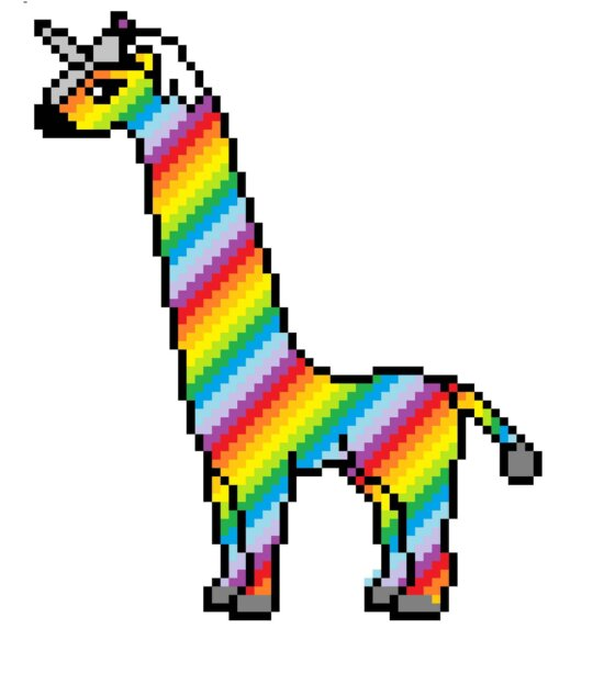 tek boynuzlu at, renkli, yaratıcılık, renkli, bilgisayar sanatı, fotomontaj, piksel