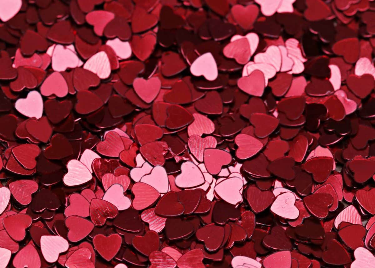 confetti, red paper, emotion, love, romance, design, art, heart