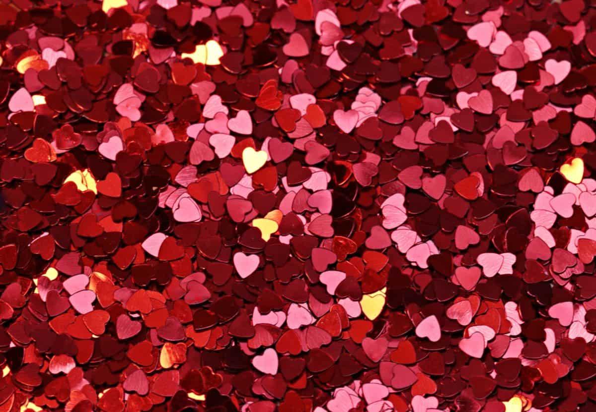 confetti, coeur rouge, texture, émotion, amour, romance