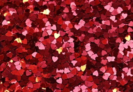 confetti, red heart, texture, emotion, love, romance