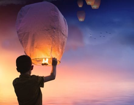 people, sunset, sky, sun, dusk, balloon, fire, person, outdoor