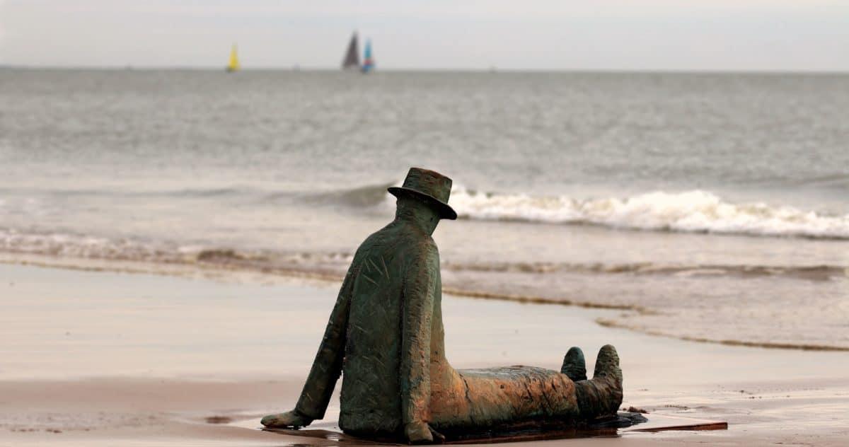скулптура, бронз, метал, човек, шапка, бряг, море, пясък, морския бряг, Открит