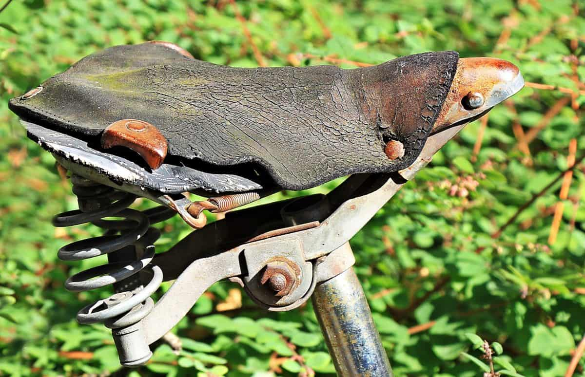 bicycle, rust, metal, rustic, leather, outdoor, object, old