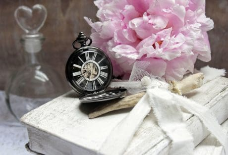 still life, flower, petal, clock, book, decoration