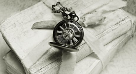 still life, metal, monochrome, clock, book, decoration, table, bow