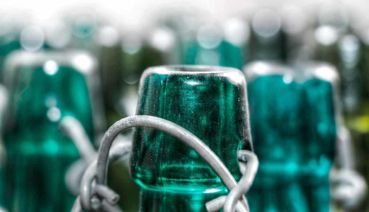 garrafa, copo, objeto, detalhe, verde, metal