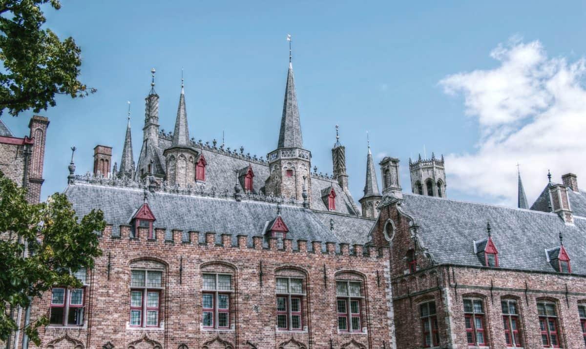 Château, ville, tour, vieille, architecture, ciel bleu, extérieur, façade