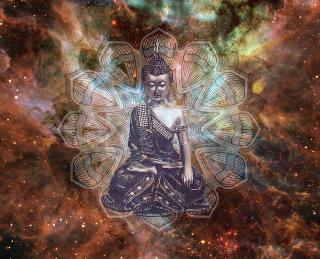Bouddha, Bouddhisme, photomontage, résumé, cosmos, star, art, couleurs, religion